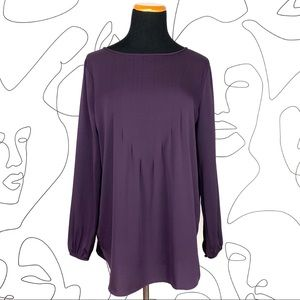 Theory Sepia Cleopatra Purple Silk Blouse Top
